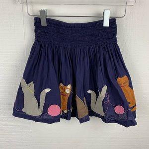Mini Boden Blue Cat Graphic Skirt